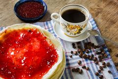Raspberry jam pancakes and Vintage cup Stock Images