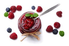 Raspberry jam with raspberry berries isolated on white background. top view Royalty Free Stock Image