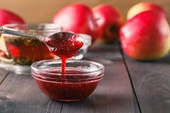 Raspberry jam in spoon Stock Images