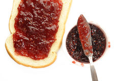 Raspberry jam and toast Royalty Free Stock Photography