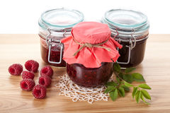 Raspberry jams and marmalade Stock Images