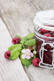 Raspberry Jar on wood Royalty Free Stock Photos