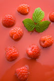 Raspberry juice. Fresh healthy raspberries representing raspberry juice concept Royalty Free Stock Images