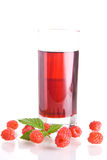 Raspberry juice. Glass of tasty and healthy homemade raspberry juice Stock Photography