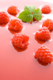 Raspberry juice. Fresh healthy raspberries representing raspberry juice concept Stock Photography