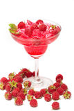 Raspberry juice drink with fresh raspberries. Healthy fruity drink Royalty Free Stock Images