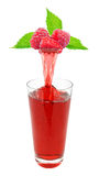 Raspberry juice. Fresh raspberry juice flowing from raspberry into the glass Stock Photography
