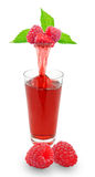 Raspberry juice. Fresh raspberry juice flowing from raspberry into the glass Stock Image