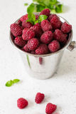 Raspberry juice. Juice from fresh rasberries with ice drink Royalty Free Stock Photo