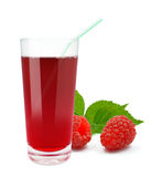 Raspberry juice. Fresh raspberry juice on a white background Stock Photography