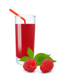 Raspberry juice. Fresh raspberry juice on a white background Royalty Free Stock Images
