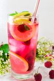 Raspberry juice with mint leafs and ice. In a glass Royalty Free Stock Photography