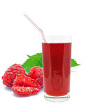 Raspberry juice. On a white background Stock Photos