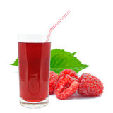 Raspberry juice. On a white background Stock Photography