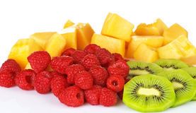 Raspberry And Kiwi With Cantaloupe Royalty Free Stock Photo