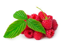 Raspberry with leaf. Ripe raspberry with leaf isolated on white background Royalty Free Stock Photos
