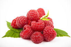 Raspberry with leaves Royalty Free Stock Images