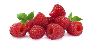 Raspberry with leaves horizontal  on white background Royalty Free Stock Photos