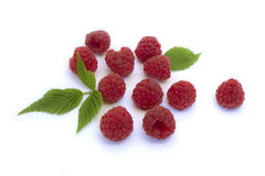 Raspberry with leaves. Raspberry on a white background Royalty Free Stock Photos