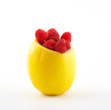 Raspberry in lemon. Food ingredients Stock Photos