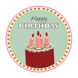 Happy Birthday. Raspberry with lime icing cake, red candles, with happy birthday text, vector illustrator Stock Photo
