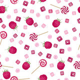 Raspberry lollipops, candy and chewing gum seamless pattern back stock illustration