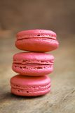 Raspberry macarons Stock Images