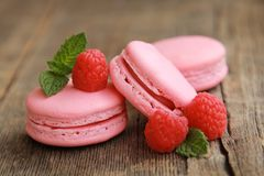 Raspberry macarons Royalty Free Stock Photo