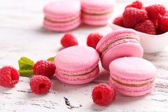 Raspberry macarons royalty free stock photo