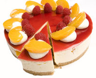 Raspberry & Mandarin cheesecake Royalty Free Stock Photos