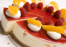 Raspberry & Mandarin cheesecake Royalty Free Stock Photography