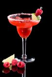 Raspberry Margarita  - Most popular cocktails seri. Raspberry Margarita in chilled glass over black background on reflection surface, garnished with fresh Stock Image