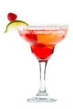 Raspberry margarita. Refreshing raspberry margarita on a white background garnished with a lime slice stock images