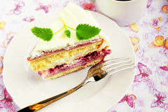 Raspberry meringue cake Stock Photo