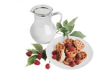 Raspberry, milk in a jar and cookies. Isolated on white background Royalty Free Stock Photos