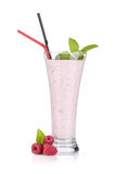 Raspberry milk smoothie with mint. And drinking straws. Isolated on white background Royalty Free Stock Photography