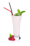 Raspberry milk smoothie with mint. And drinking straws. Isolated on white background Stock Image