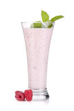 Raspberry milk smoothie with mint. Isolated on white background Stock Photo