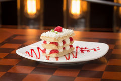 Raspberry mille feuille. Dessert on the table Stock Photo