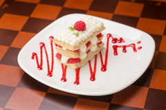 Raspberry mille feuille Stock Photo