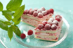 Raspberry millefeuille Stock Image