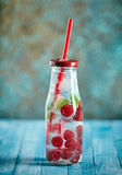 Raspberry and mint drink in bottle Royalty Free Stock Photos