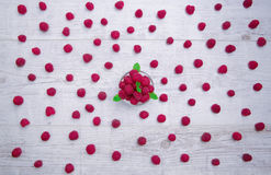 Raspberry and mint top view background Royalty Free Stock Photos