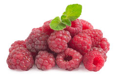 Raspberry and mint. On a white background Royalty Free Stock Images