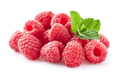 Raspberry with mint stock image