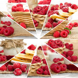 Raspberry Mix Slices. Photo of fresh raspberry abstract mix in baskets and bowls with marmalade jar; healthy eating concept Stock Photo