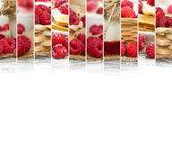Raspberry Mix Slices. Photo of fresh raspberry abstract mix in baskets and bowls with marmalade jar; healthy eating; white space for text Royalty Free Stock Photography