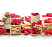 Raspberry Mix Slices. Photo of fresh raspberry abstract mix in baskets and bowls with marmalade jar; healthy eating; white space for text Stock Photo
