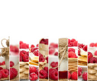 Raspberry Mix Slices. Photo of fresh raspberry abstract mix in baskets and bowls with marmalade jar; healthy eating; white space for text Royalty Free Stock Image