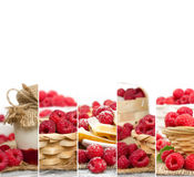 Raspberry Mix Slices. Photo of fresh raspberry abstract mix in baskets and bowls with marmalade jar; healthy eating; white space for text Royalty Free Stock Images
